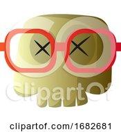 Cartoon Skull With Red Glasses Illustartion