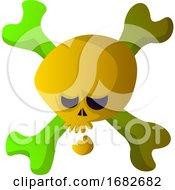 Cartoon Yellow Skull Illustartion