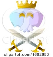White Cartoon Skull With Crown And Swords Illustartion