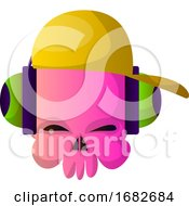 Little Pink Cartoon Skul With Hat And Headphones Illustartion
