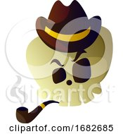 Cartoon Skull With Brown Hat And Pipe Illustartion