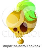 Yellow Cartoon Skull With Green Hair Illustartion