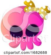 Cute Pink Cartoon Skull With Yellow Tie Illustartion
