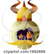 Cartoon Skull With Viking Hat Illustartion