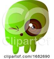 Green Cartoon Skull Illustartion