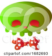 Green Cartoon Skull With Red Bowtie Illustartion