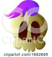 Cartoon Skull With Purple Hair Illustartion
