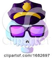 Cartoon Skull With Purple Police Hat Illustartion