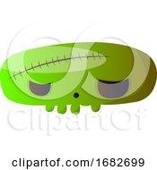 Big Scary Cartoon Green Skull Illustartion