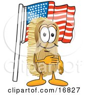 Clipart Picture Of A Scrub Brush Mascot Cartoon Character Pledging Allegiance To The American Flag by Toons4Biz