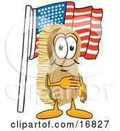 Scrub Brush Mascot Cartoon Character Pledging Allegiance To The American Flag