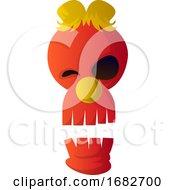 Red Cartoon Skull Illustartion