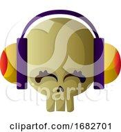 Cute Caroon Skull With Headphones Illustartion