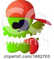 Green Cartoon Skull With Red Hat Illustration
