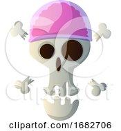 Cartoon Skull With Pink Hat Illustartion