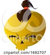 Yellow Cartoon Skull With Brown Hair Illustartion