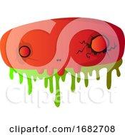 Big Scary Red Cartoon Skull Illustartion