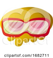 Big Yellow Cartoon Skull With Red Glasses Illustartion