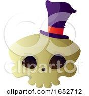 Cartoon Skull With Purple Hat Illustartion