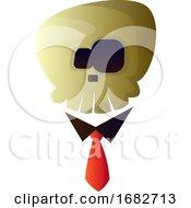 Cartoon Skull With Tie Illustartion
