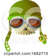 Cartoon Skull With Aviation Hat Illustration