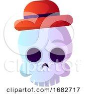 Cartoon Skull With Red Hat Illustartion