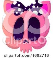 Cute Cartoon Skull With Purple Tie Illustration
