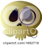 Cartoon Skull With Glasses Illustartion