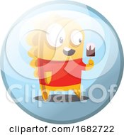 Cartoon Character Of Yellow Monster In Red Shirt Eating An Icecream Illustration In Light Blue Circle