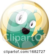 Cartoon Character Of A Green Monster Waving Illustration In Yellow Circle