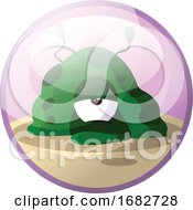 Cartoon Character Of A Green Monster Looking Tired Illustration In Light Purple Circle