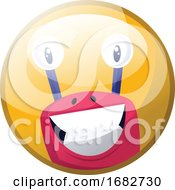 Cartoon Character Of A Pink Monster With Big Teeth Smiling Illustration In Yellow Circle