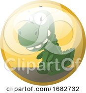 Poster, Art Print Of Cartoon Character Of A Green Dinosaur Smiling Illustration In Yellow Circle