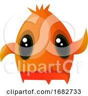 Orange Monster With Big Eyes Waving Illustration