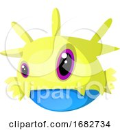 Yellow Monster With Different Size Eyes Illustration