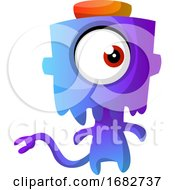 Poster, Art Print Of Blue Monster With A Hat Illustration