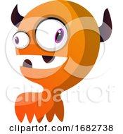 Orange Monster With Horns Illustration