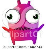 Poster, Art Print Of Purple Monster With Big Eyes Illustration