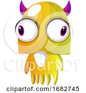 Yellow Monster With Pink Horns And Big Eyes Illustration