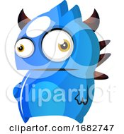 Blue Monster With Horns Illustration