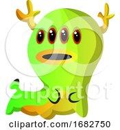 Green Four Eyed Monster Illustration