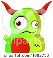 Green Monster With Red Horns Illustration
