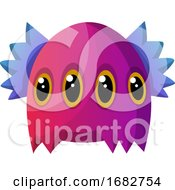 Poster, Art Print Of Purple Monster With Four Eyes Illustration