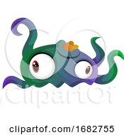 Weird Colorful Monster Meduza Illustration