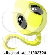Smiling Yellow Monster With Big Cute Eyes Illustration