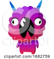 Poster, Art Print Of Purple Monster With Mouth Wide Opened Illustration