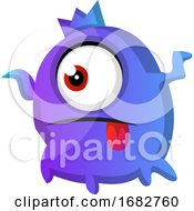 One Eyed Purple Monster With Tongue Out Illustration