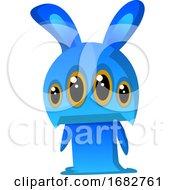Four Eyed Blue Rabbit Monster Illustration Print