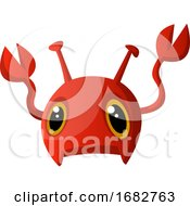 Red Cute Monster With Claws Illustration Print