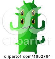 Four Eyed Green Monster With Thorns Illustration Print